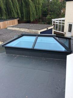 blue glass roof lantern