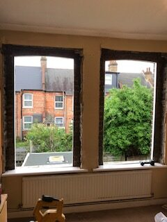 sash windows out, ready for the new ones