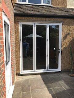 white 3 panel bifold doors