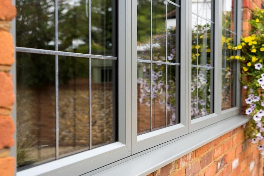 aluminium window with leaded feature