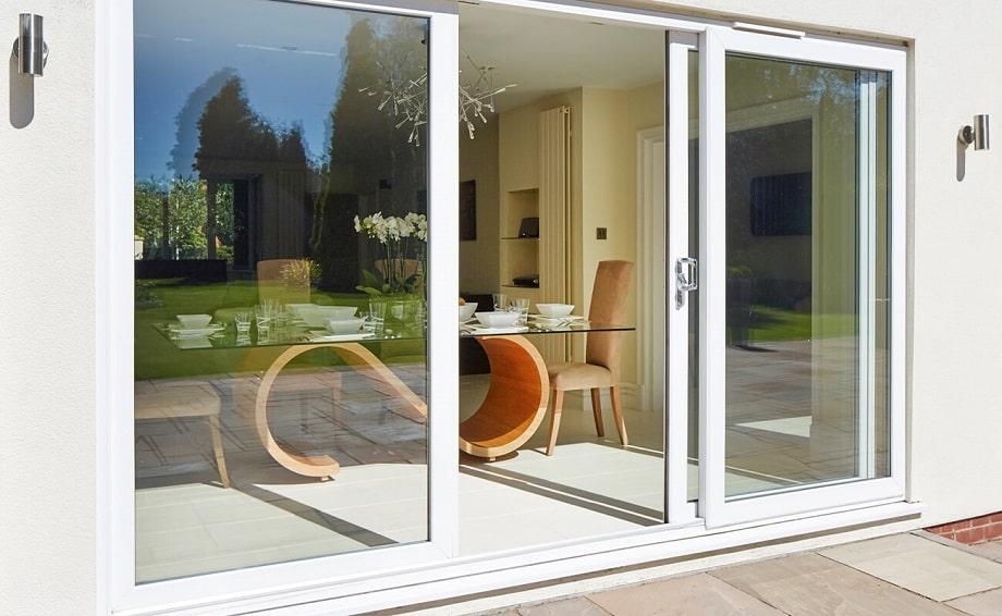 White sliding patio doors